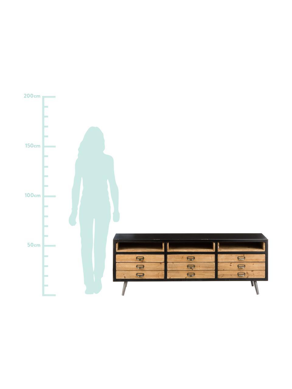 Lowboard Sol im Industrial Design, Korpus: Mitteldichte Holzfaserpla, Schwarz, Pinienholz, 155 x 58 cm