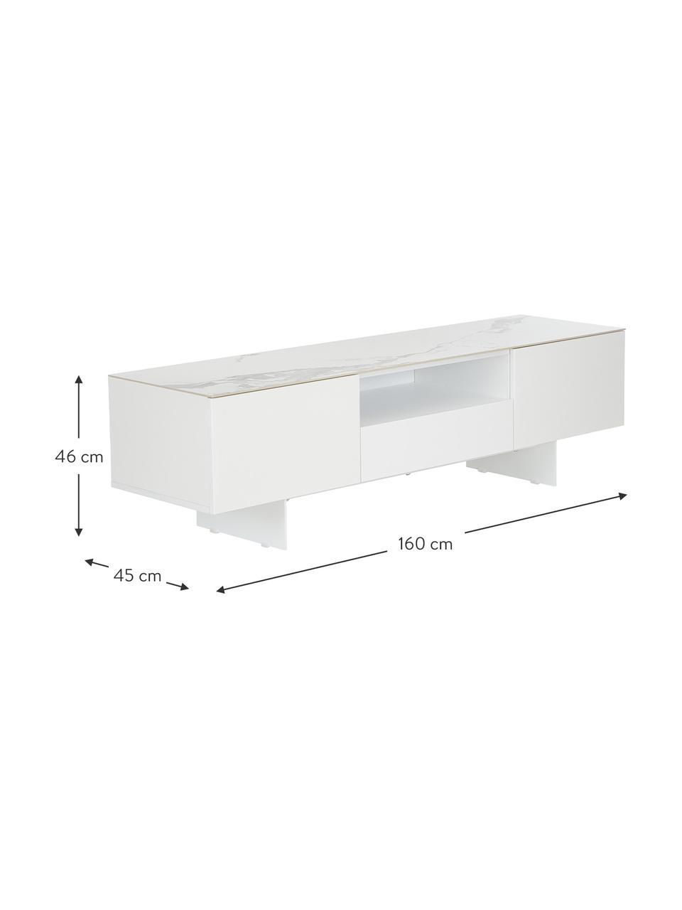 Weißes TV-Lowboard Fiona mit Oberfläche in Marmor-Optik, Korpus: Mitteldichte Holzfaserpla, Füße: Metall, pulverbeschichtet, Ablagefläche: Keramik, Korpus: Weiß, mattFüße: Weiß, mattAblagefläche: Weiß, marmoriert, 160 x 46 cm