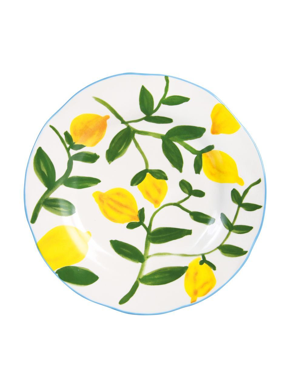 Set 4 piatti da colazione dipinti con motivo limoni Twig, Terracotta, Multicolore, Ø 22 cm