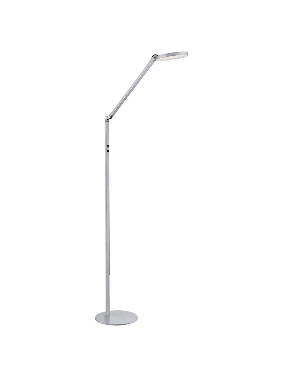 Dimmbare LED-Stehlampe Regina, Lampenschirm: Metall, Methacrylat, Lampenfuß: Metall, Silberfarben, 60 x 160 cm