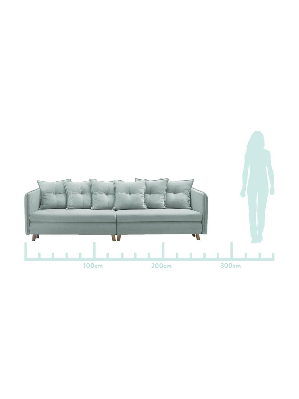 Sofa rozkładana z aksamitu z miejscem do przechowywania  Opti (4-osobowa), Tapicerka: 100% aksamit poliestrowy, Nogi: metal lakierowany, Jasny niebieski, S 264 x G 103 cm