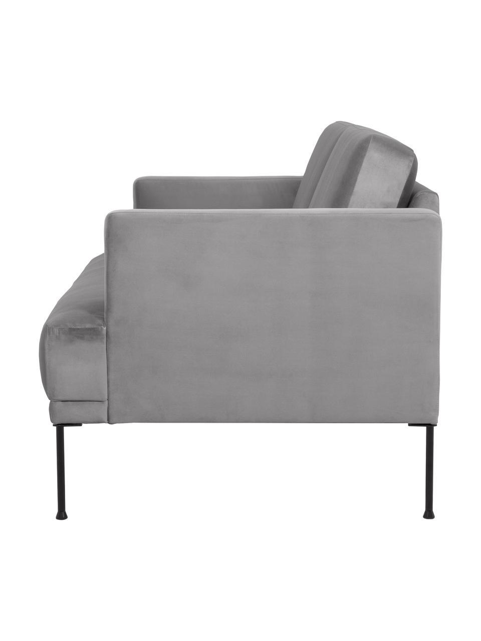 Canapé 3places velours gris clair Fluente, Velours gris clair