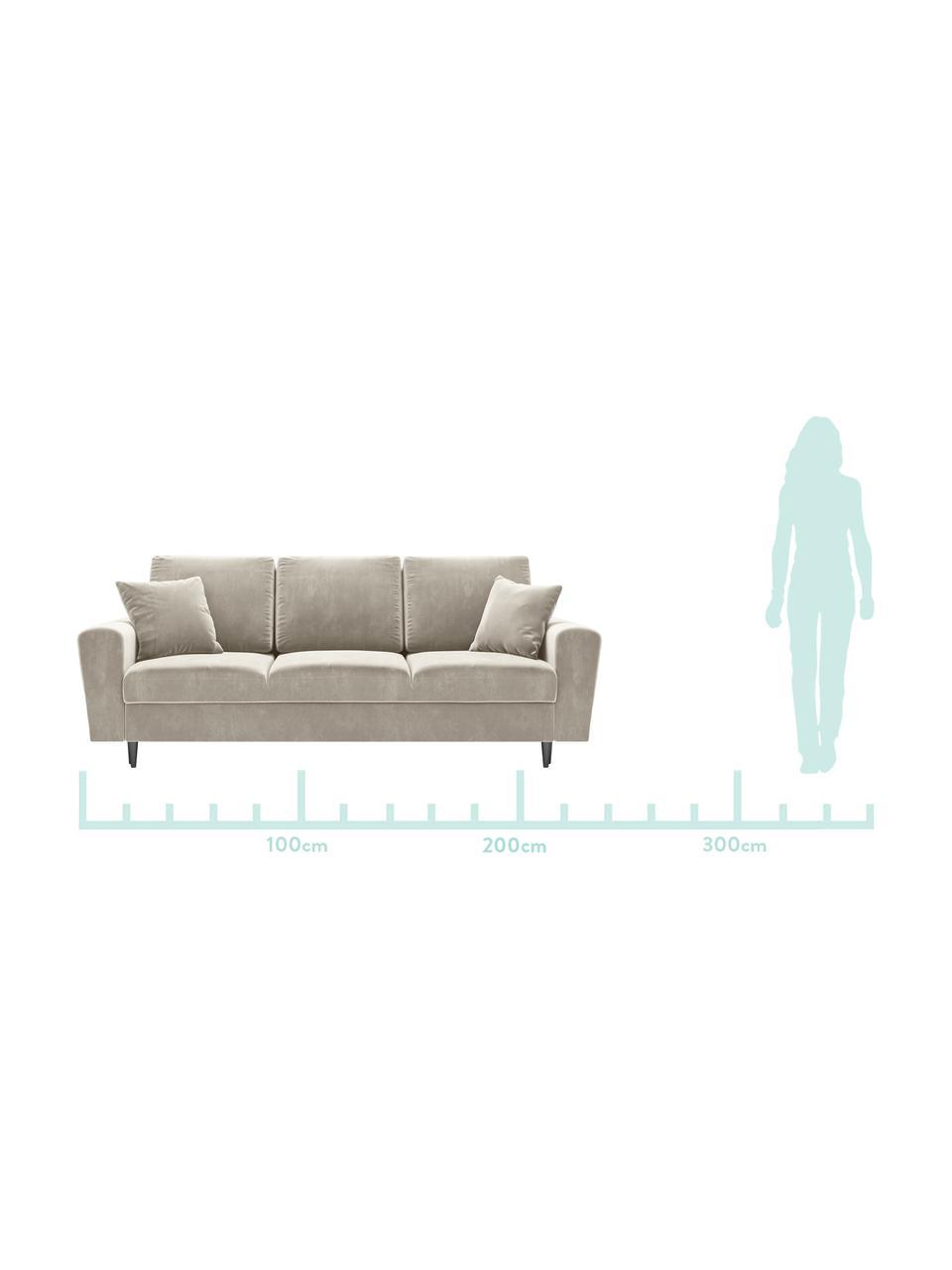 Sofa z funkcją spania z miejscem do przechowywania Moghan (3-osobowa), Tapicerka: aksamit poliestrowy Dzięk, Stelaż: lite drewno sosnowe, skle, Nogi: metal lakierowany, Beżowy, czarny, S 235 x G 100 cm