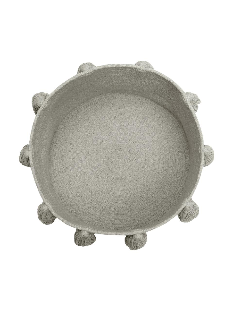 Aufbewahrungskorb Tassels, 97% Baumwolle, 3% recycelte Baumwolle, Greige, Ø 45 x H 30 cm