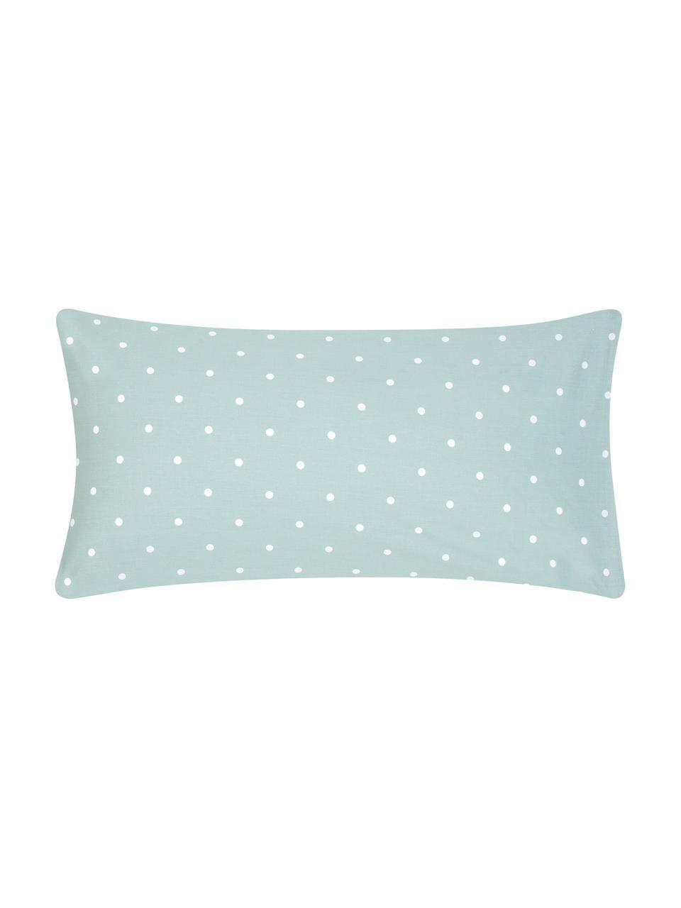 Poszewka na poduszkę z bawełny renforcé Dotty, 2 szt., Szałwiowy zielony, biały, S 40 x D 80 cm