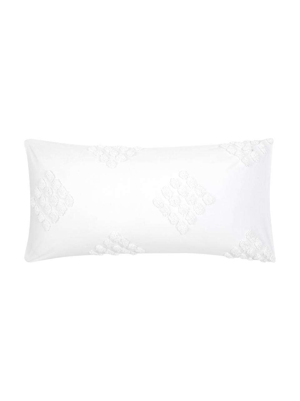 Baumwollperkal-Kissenbezüge Fia mit getufteter Verzierung, 2 Stück, Webart: Perkal Perkal ist ein fei, Weiß, 40 x 80 cm