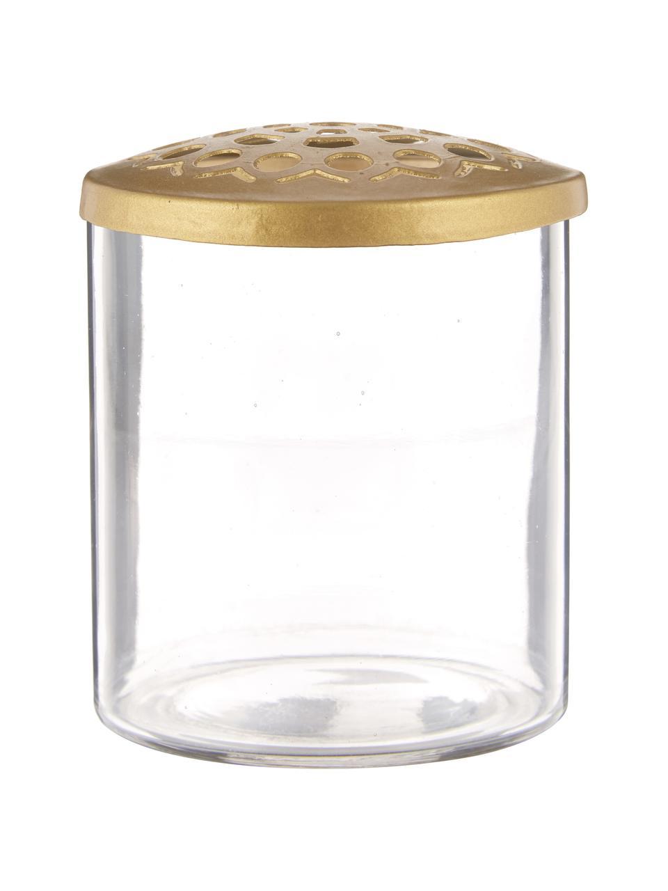 XS vazenset Kastanje met metalen deksel, 2-delig, Vaas: glas, Deksel: vermessingd edelstaal met, Vaas: transparant. Deksel: messingkleurig, Set met verschillende formaten