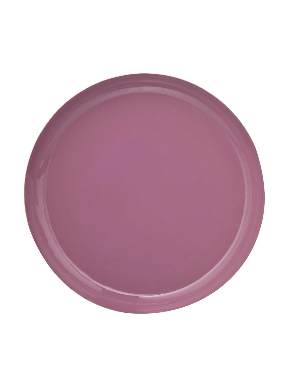 Deko-Tablett-Set Minella, 3-tlg., Metall, lackiert, Lila, Pink, RosaRand: Goldfarben, Sondergrößen