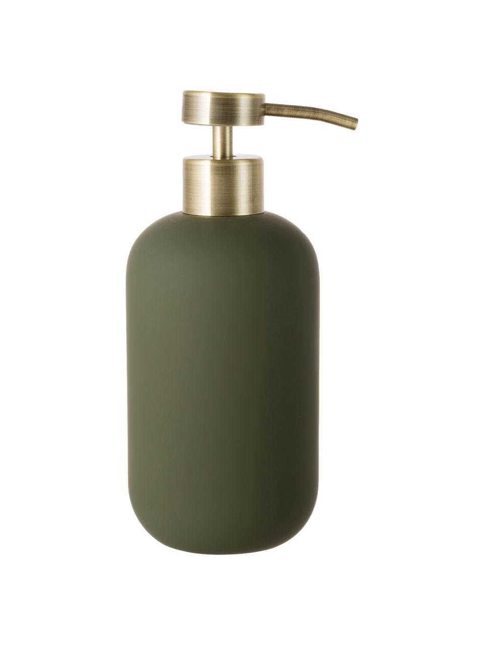 Keramik-Seifenspender Lotus, Behälter: Keramik, Pumpkopf: Metall, Olivengrün, Messingfarben, Ø 8 x H 18 cm