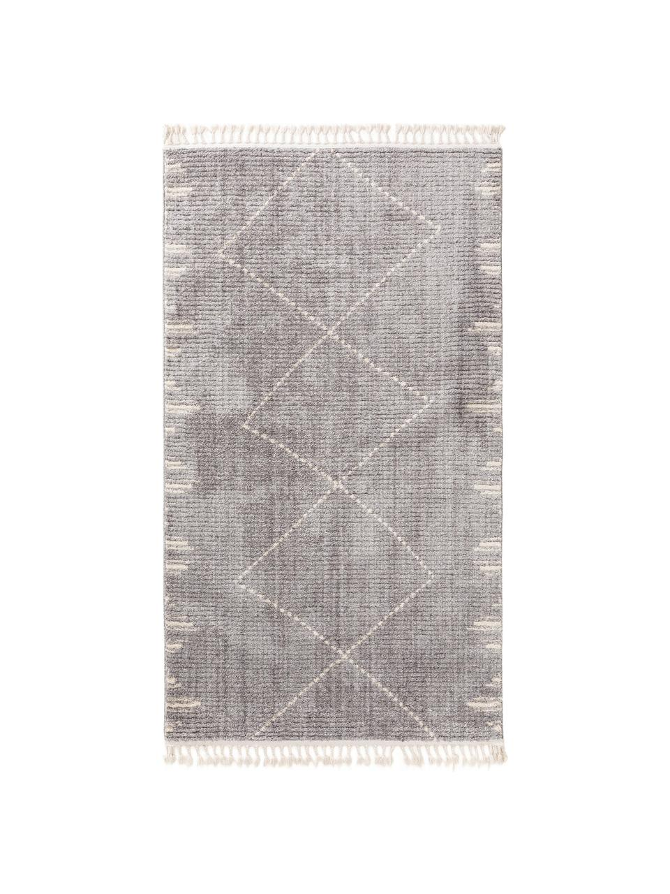 Hochflor-Teppich Bosse mit Bohomuster und Fransen, 100% Polyester, Grau, Cremeweiß, B 160 x L 230 cm (Größe M)