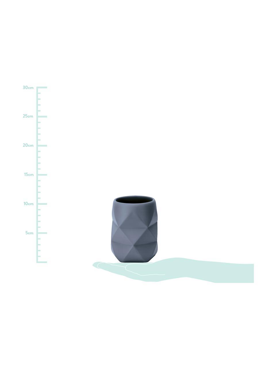 Porta spazzolini Crackle, Poliresina, Blu, Ø 8 x Alt. 10 cm