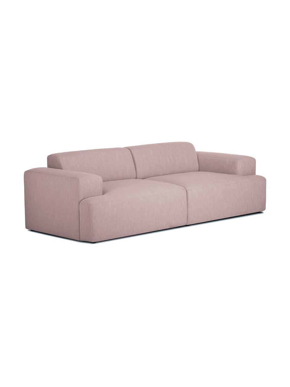 Bank Melva (3-zits) in roze, Bekleding: polyester, Frame: massief grenenhout, spaan, Poten: grenenhout, Geweven stof roze, B 240 x D 101 cm