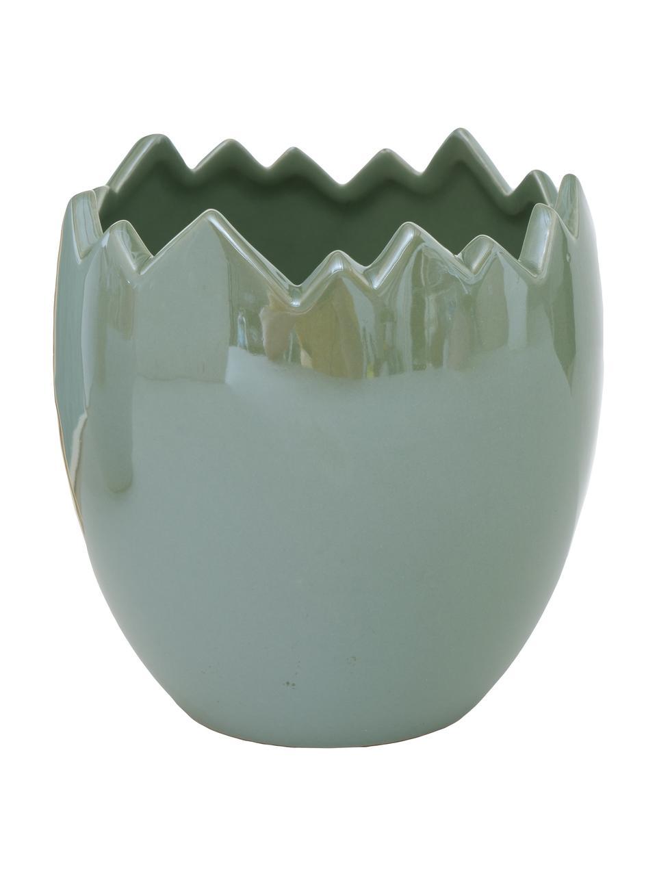 Cache-pot vert et blanc Enya, 3 élém., Vert sauge nacré, blanc cassé nacré