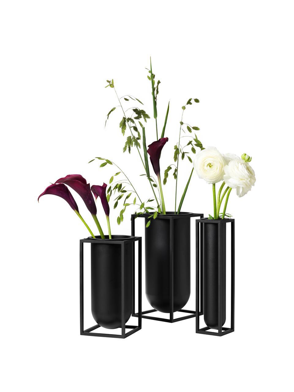 Ręcznie wykonany wazon z aluminium Kubus, Aluminium lakierowane, Czarny, S 10 x W 20 cm