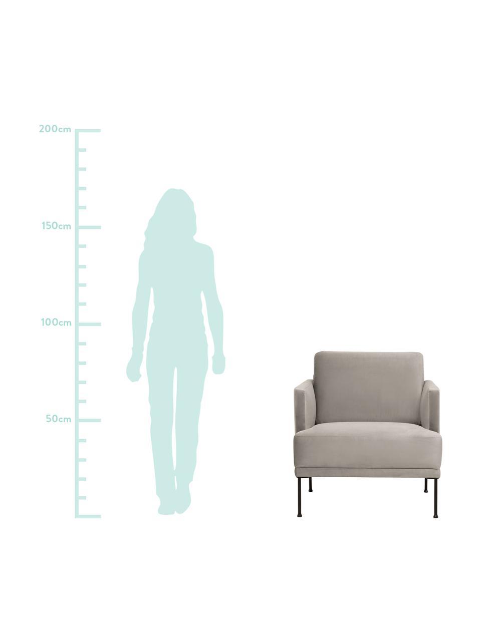 Samt-Sessel Fluente in Beige mit Metall-Füßen, Bezug: Samt (Hochwertiger Polyes, Gestell: Massives Kiefernholz, Füße: Metall, pulverbeschichtet, Samt Beige, B 74 x T 85 cm