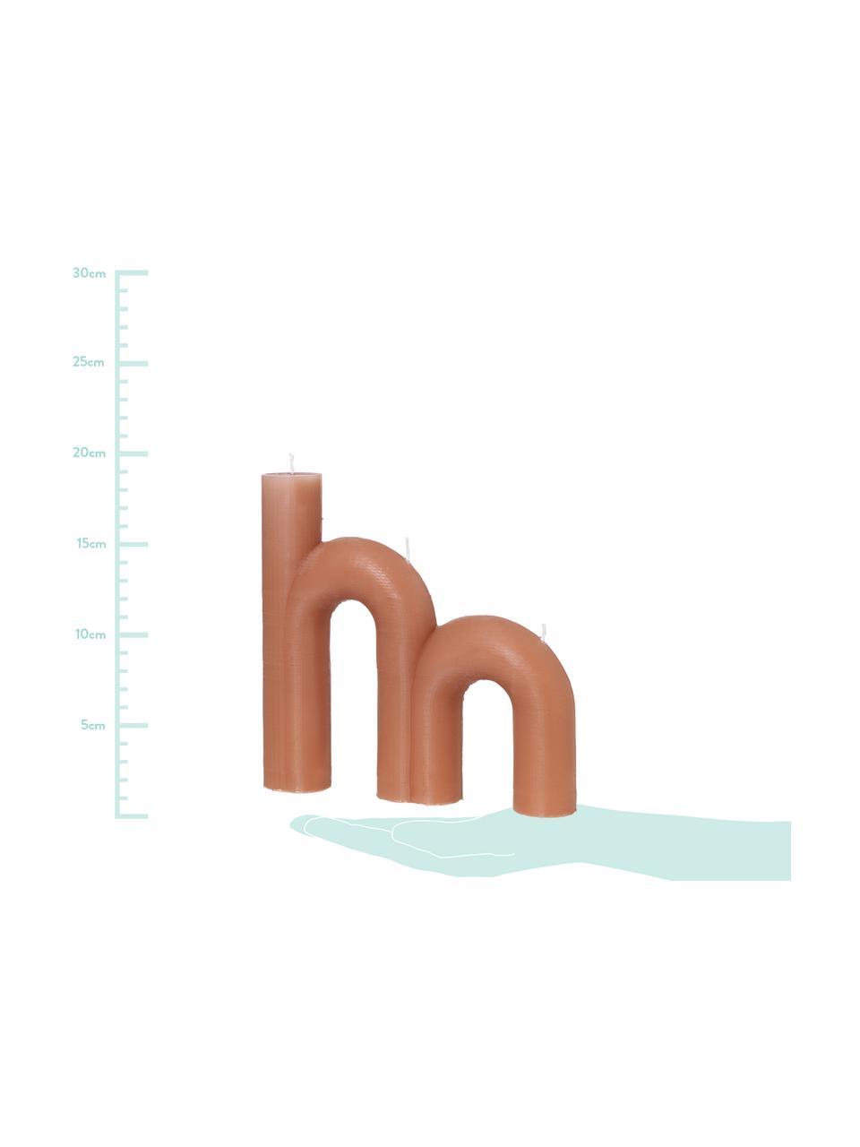 Dreidochtkerze Bend, Wachs, Terrakotta, 21 x 20 cm