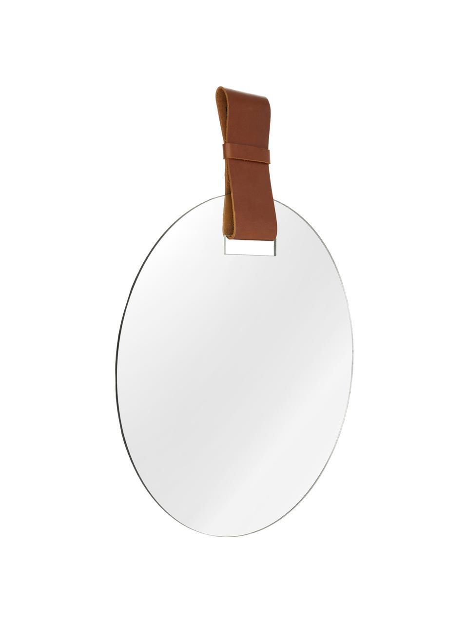 Runder Wandspiegel Miles mit Aufhängeand aus Leder, Spiegelfläche: Spiegelglas, Rückseite: Mitteldichte Holzfaserpla, Spiegelglas, Cognac, Ø 40 cm