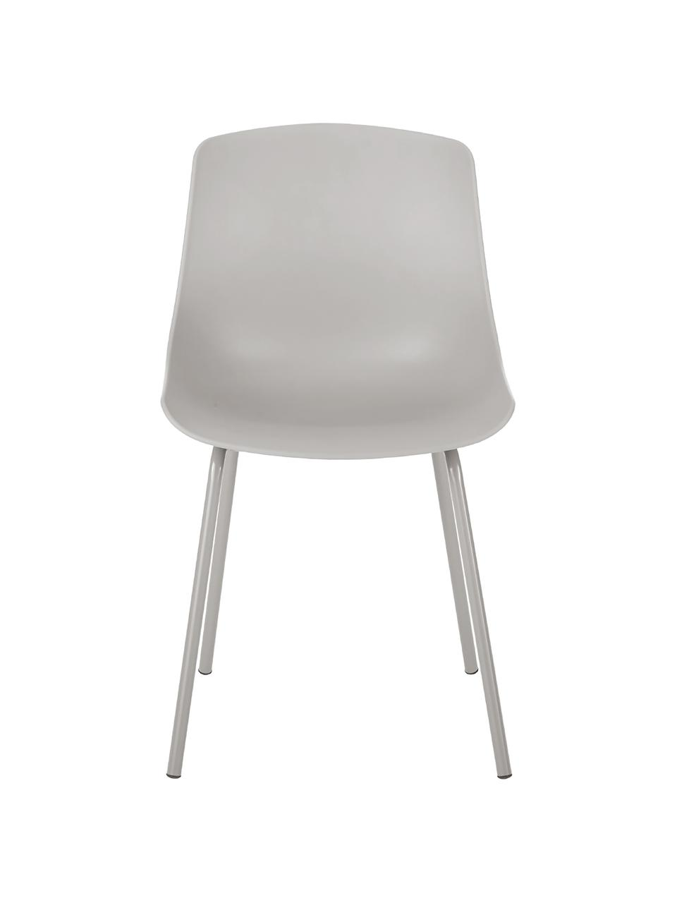 Kunststoffstühle Dave mit Metallbeinen, 2 Stück, Sitzfläche: Kunststoff, Beine: Metall, pulverbeschichtet, Taupe, B 46 x T 53 cm