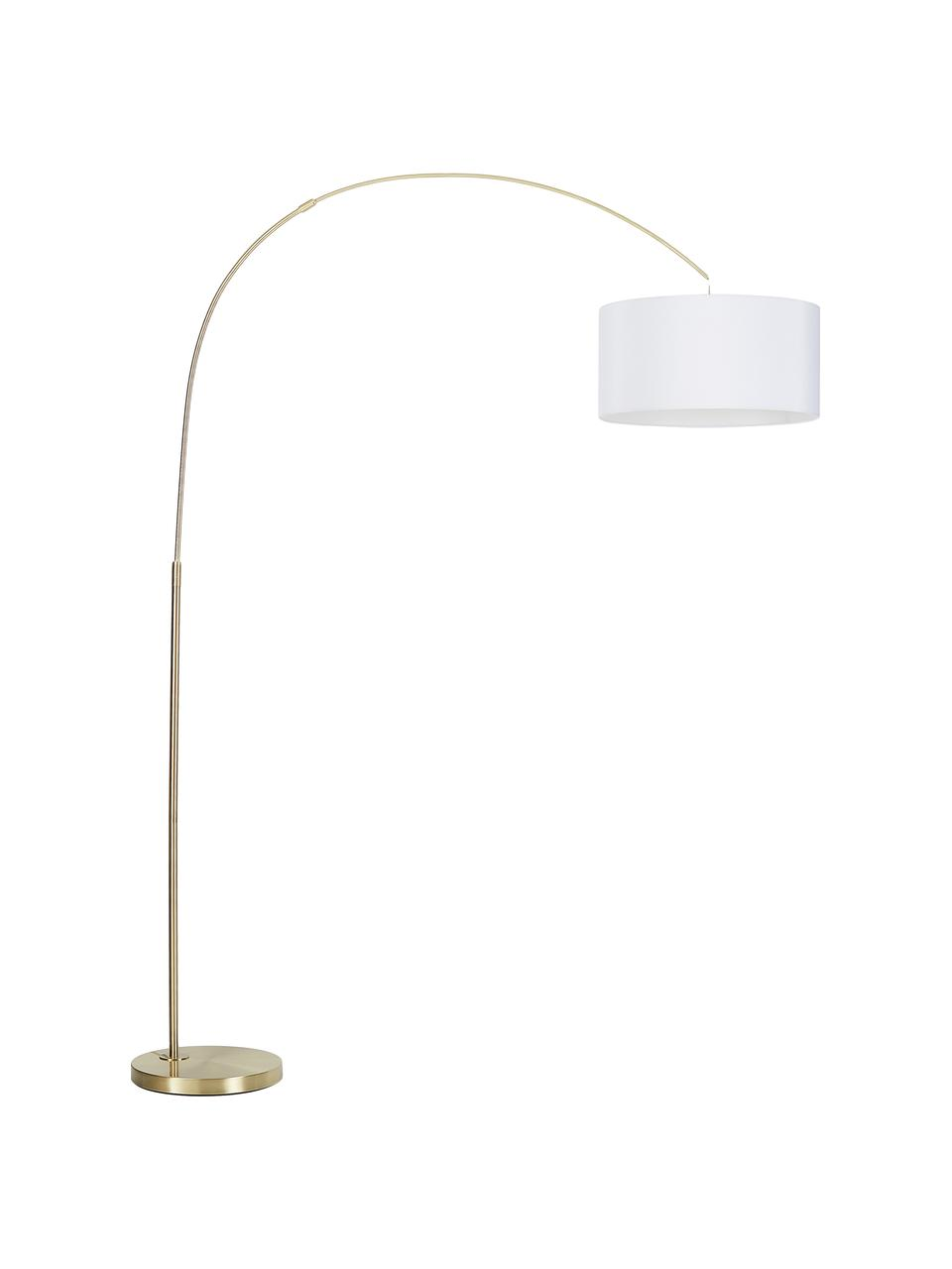 Moderne Bogenlampe Niels in Messing, Lampenschirm: Baumwollgemisch, Lampenfuß: Metall, gebürstet, Lampenschirm: WeißLampenfuß: MessingfarbenKabel: Transparent, 157 x 218 cm