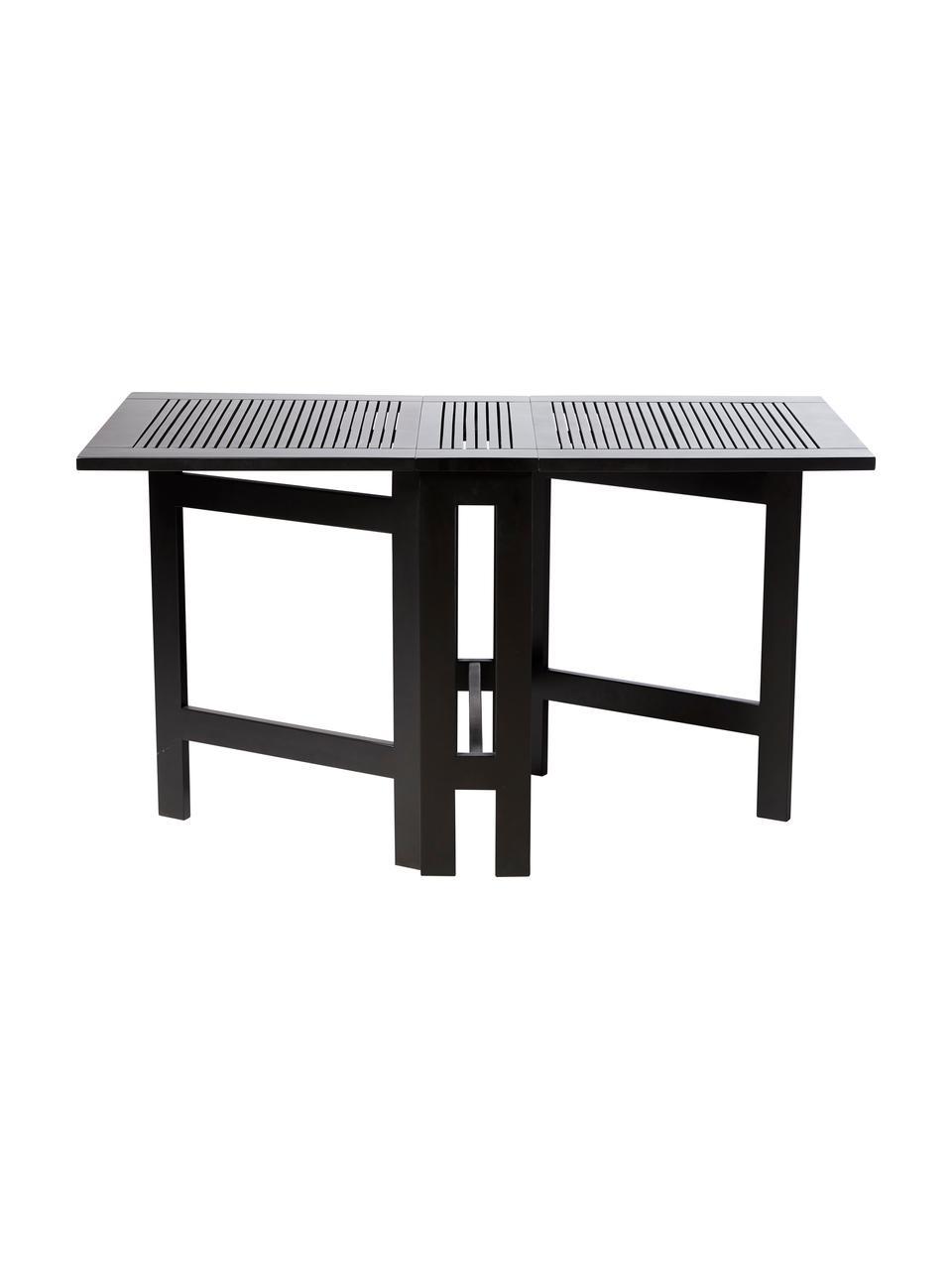 Rozkładany stół ogrodowy z drewna Butterfly, Drewno tekowe, piaskowane, lakierowane, Czarny, S 130 x W 72 cm
