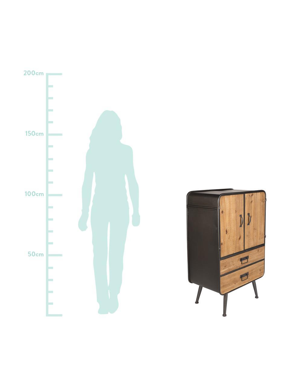 Schmale Kommode Gin im Industrial Design, Türen und Schubladen: Tannenholz Gestell, Griffe und Füße: Grau, 60 x 100 cm