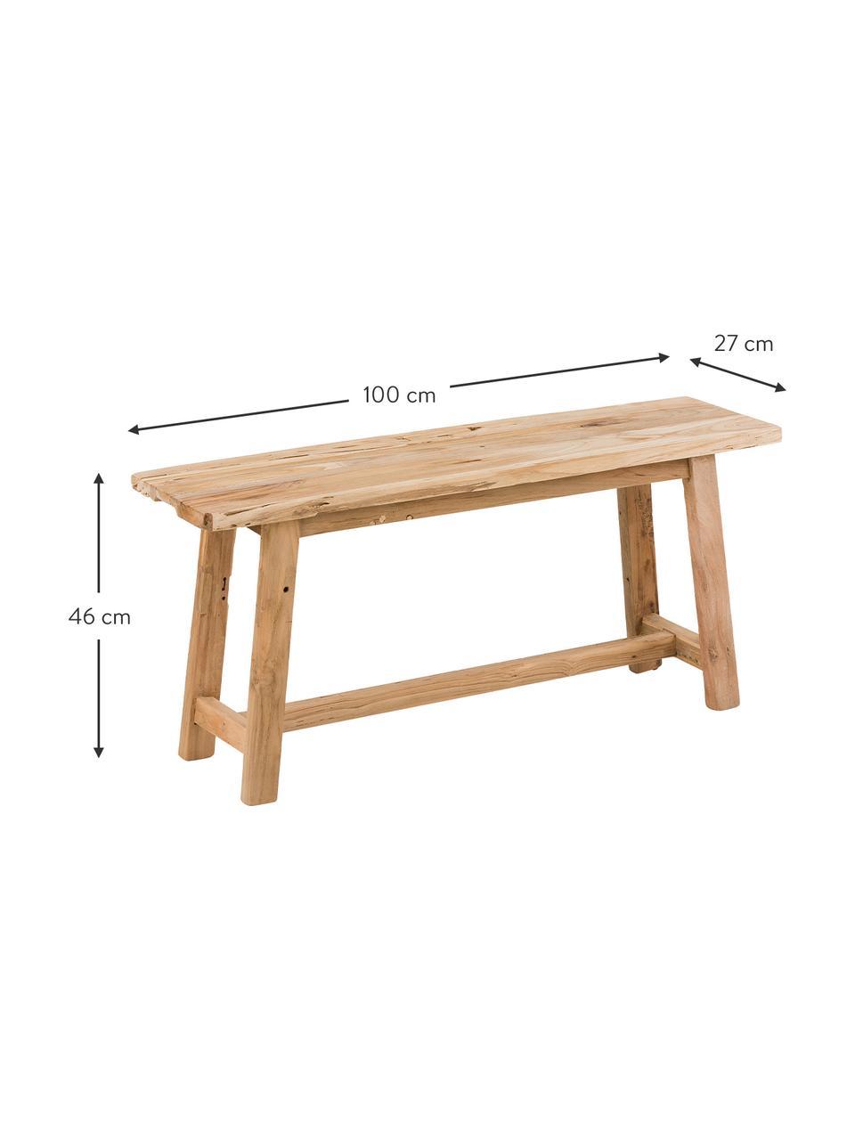 Ławka z drewna tekowego Lawas, Naturalne drewno tekowe, Drewno tekowe, S 100 x W 46 cm