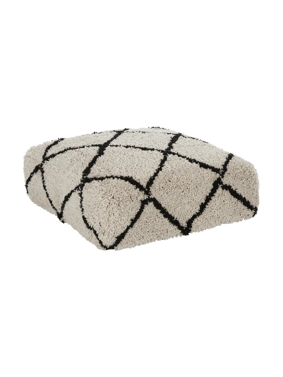 Handgetuft vloerkussen Naima, Bekleding: 100% polyester, Beige, zwart, 70 x 20 cm