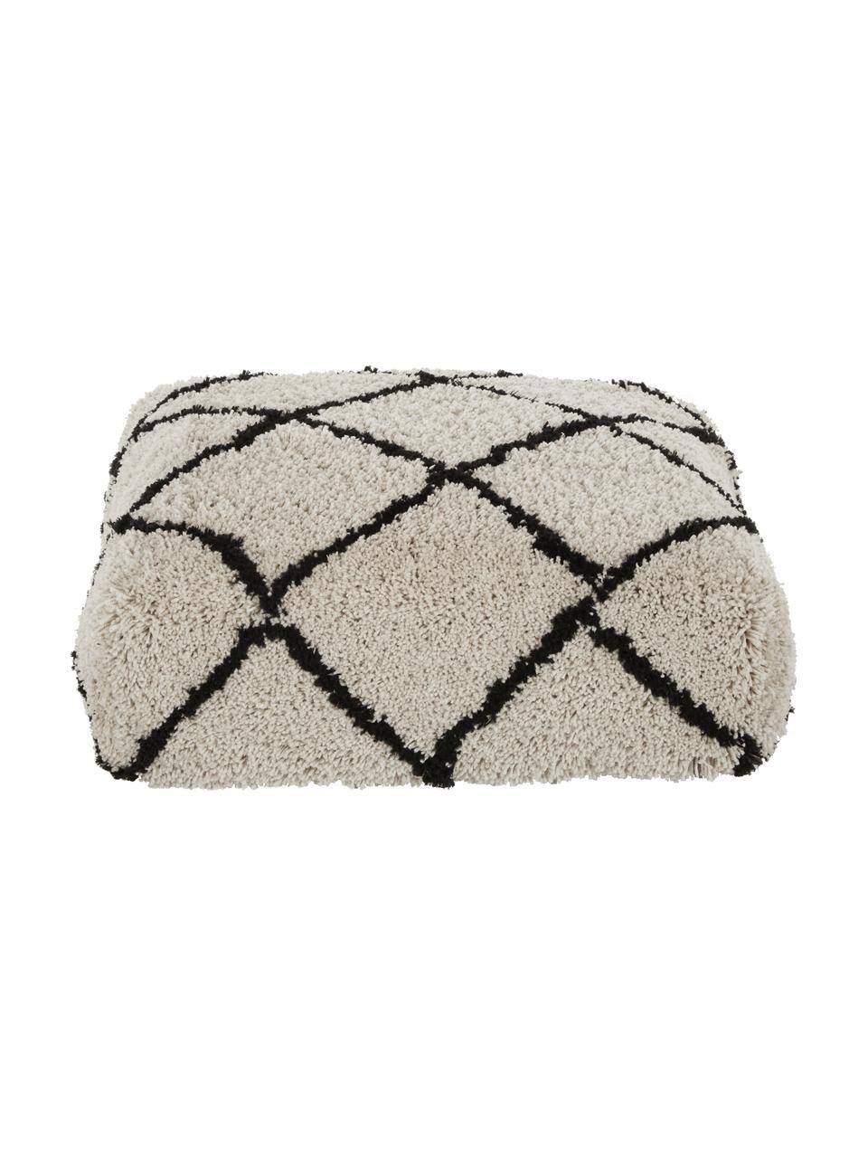 Handgeknüpftes Bodenkissen Naima, Bezug: 100% Polyester, Beige, Schwarz, 70 x 20 cm
