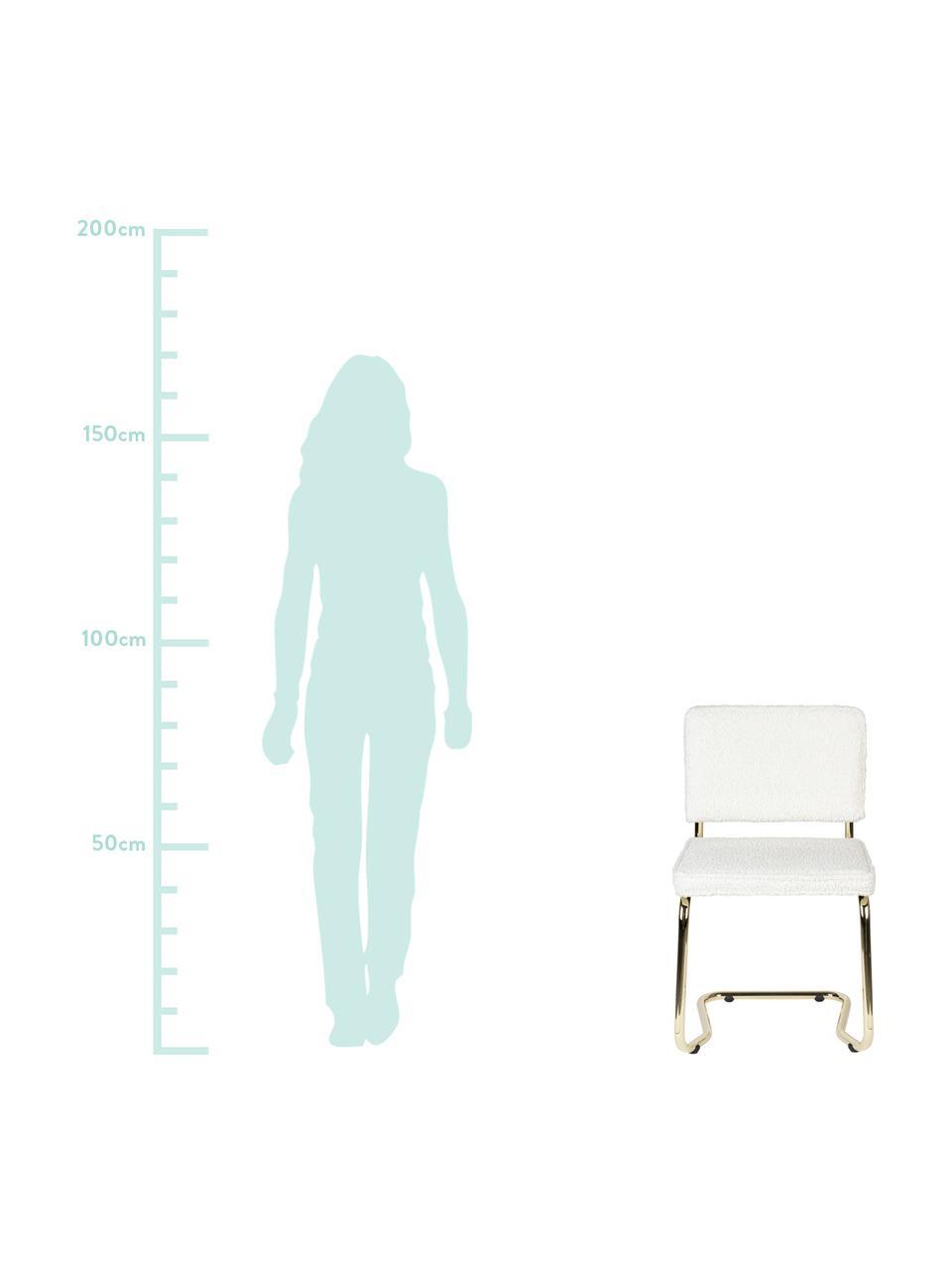 Chaise cantilever tissu peluche Kink, Blanc, couleur laitonnée