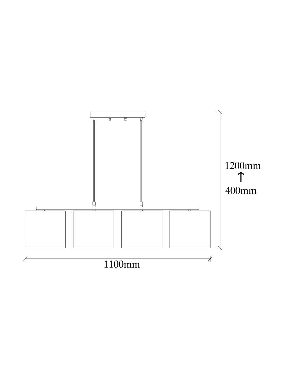 Große Pendelleuchte Valiz mit Stoffschirmen, Baldachin: Metall, beschichtet, Schwarz, Beige, Weiß, Braun, 110 x 22 cm