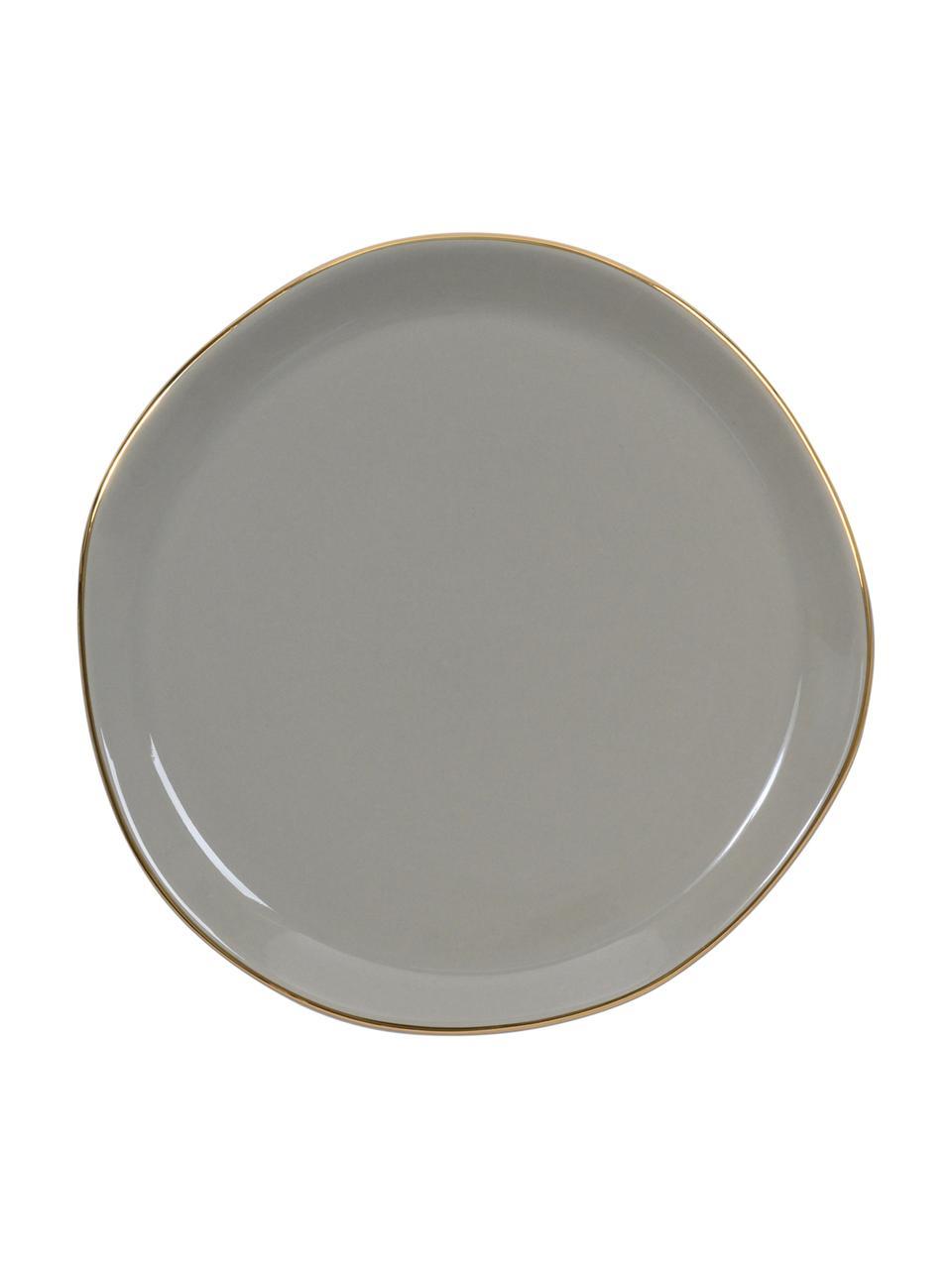 Kuchenteller Good Morning in Grau mit Goldrand, Porzellan, Grau, Goldfarben, Ø 17 cm