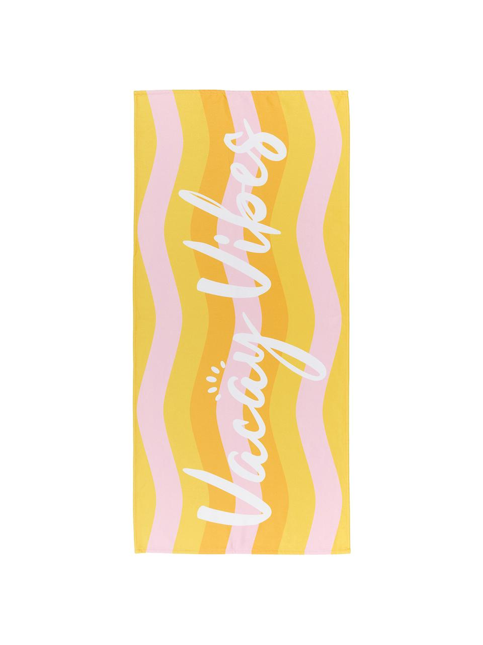 Leichtes Strandtuch Vacay Vibes mit Schriftzug, 55% Polyester, 45% Baumwolle Sehr leichte Qualität, 340 g/m², Mehrfarbig, 70 x 150 cm