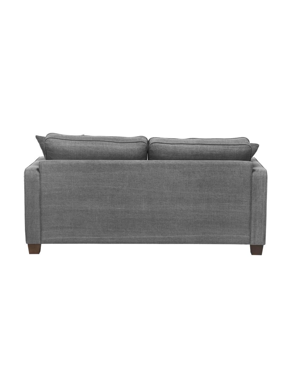 Bank Warren (2-zits) in grijs met een mix van linnen stof, Frame: hout, Bekleding: 60% katoen, 40% linnen, Poten: zwart hout, Geweven stof grijs, 178 x 85 cm