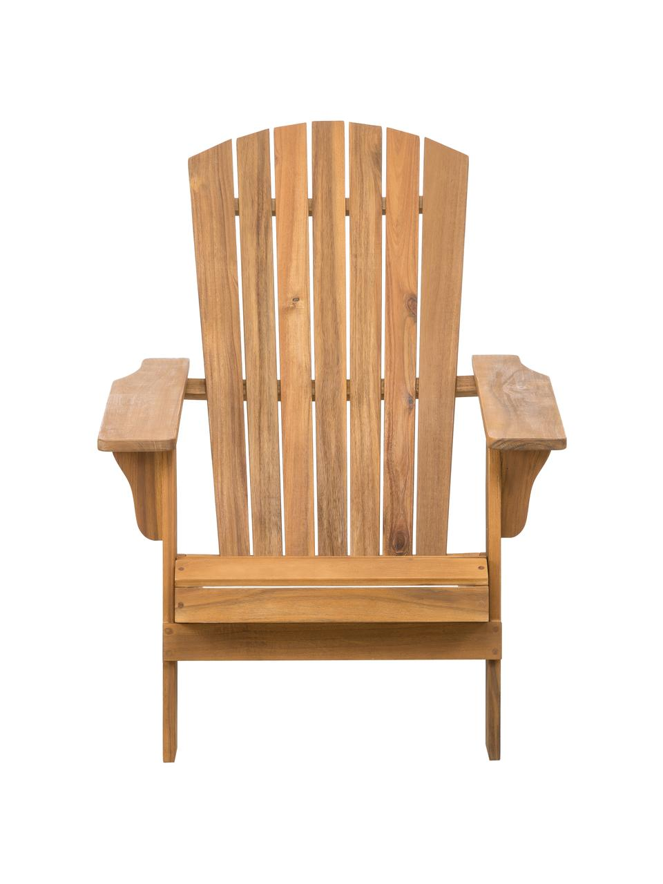 Acaciahouten tuin loungestoel Charlie in wit, Massief geolied acaciahout, Bruin, B 93  x D 74 cm