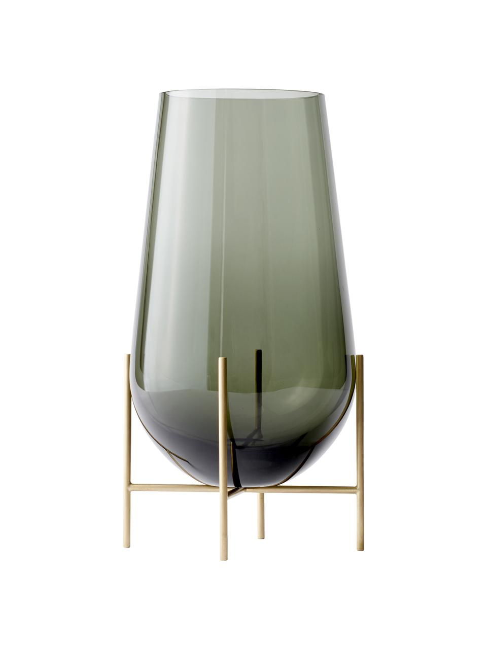 Mundgeblasene Bodenvase Échasse, Gestell: Messing, Vase: Glas, mundgeblasen, Messingfarben, Grau, Ø 30 x H 60 cm