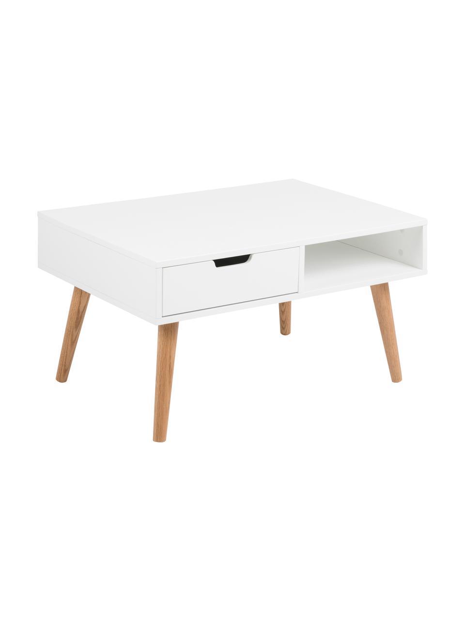 Couchtisch Mitra mit Schublade im Skandi Design, Tischplatte: Mitteldichte Faserplatte , Beine: Eichenholz, geölt, Tischplatte: Weiß, matt<br>Beine: Eiche, 80 x 46 cm