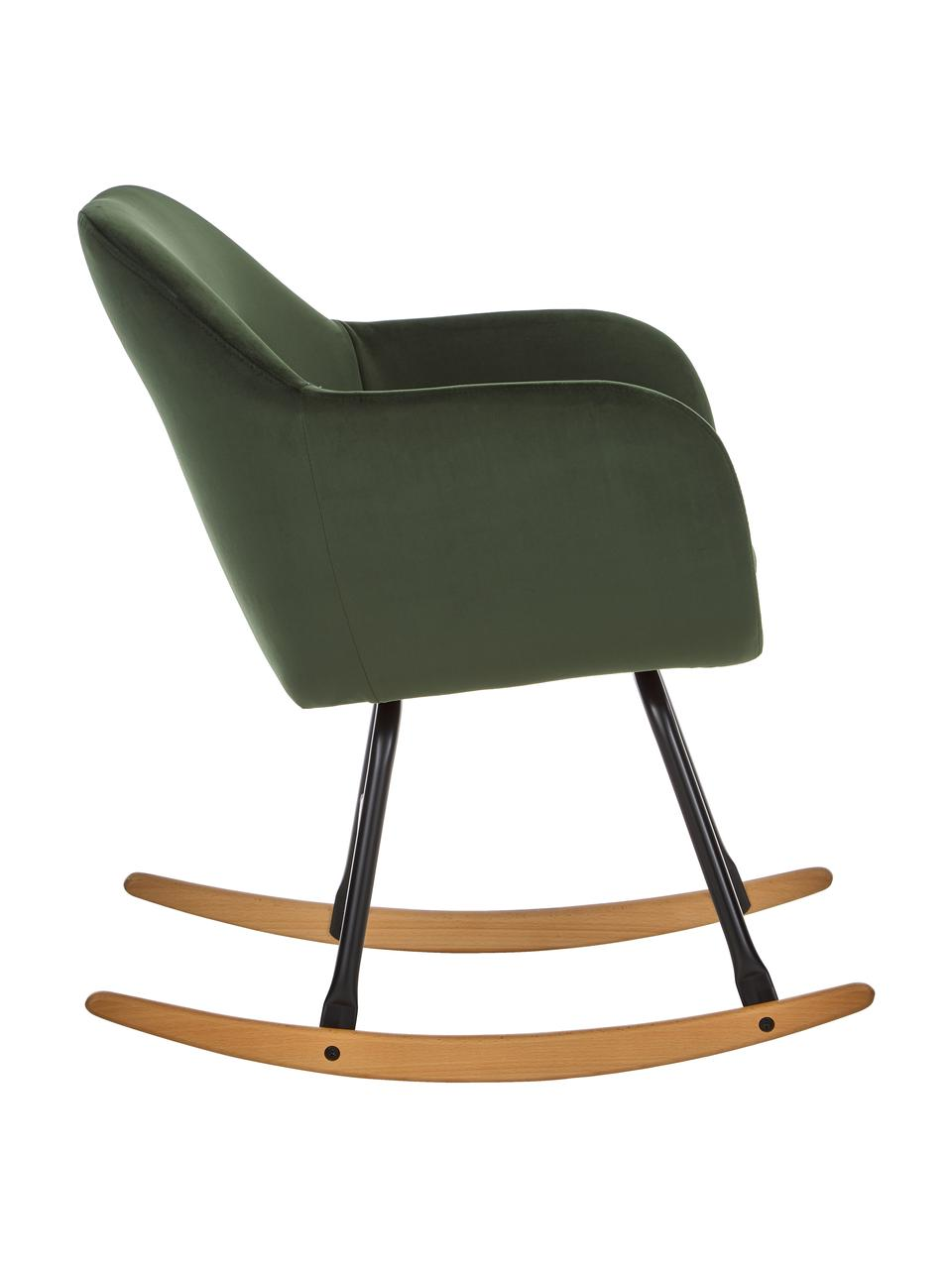 Sedia a dondolo in velluto verde Emilia, Rivestimento: poliestere (velluto) 25.0, Gambe: metallo verniciato a polv, Verde, Larg. 57 x Alt. 69 cm