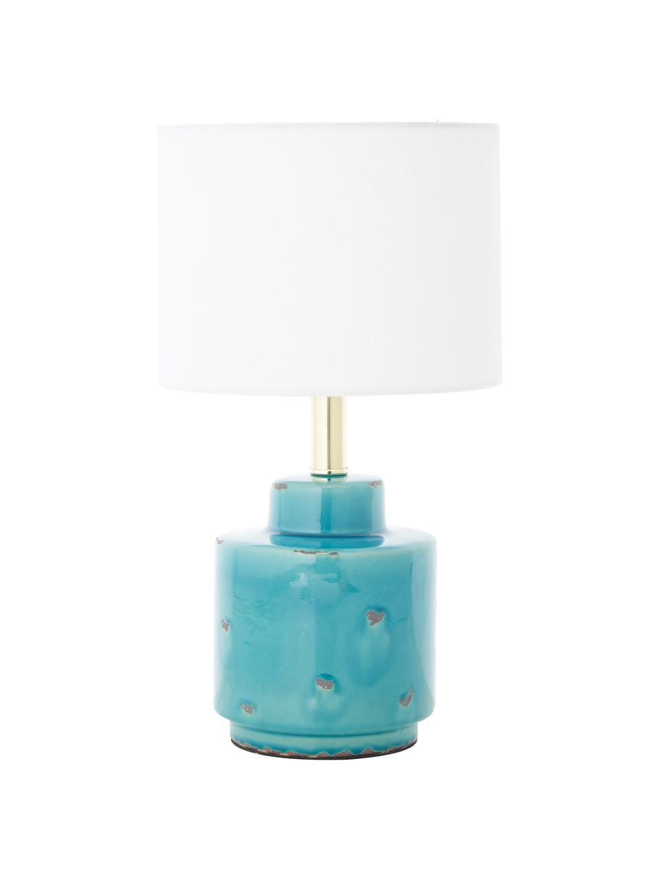 Keramik-Tischlampe Cous mit Antik-Finish, Lampenschirm: Polyester, Lampenfuß: Keramik mit Antik-Finish, Lampenschirm: Weiß Lampenfuß: Blau mit Antik-Finish, Ø 24 x H 42 cm