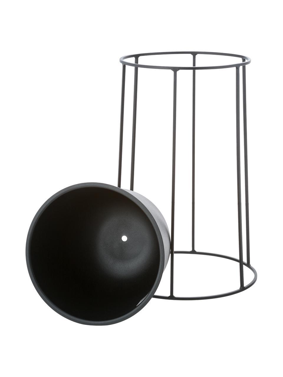 Grote plantenpot Wire Pot van staal, Staal, poedergecoat, Zwart, Ø 23 x H 17 cm