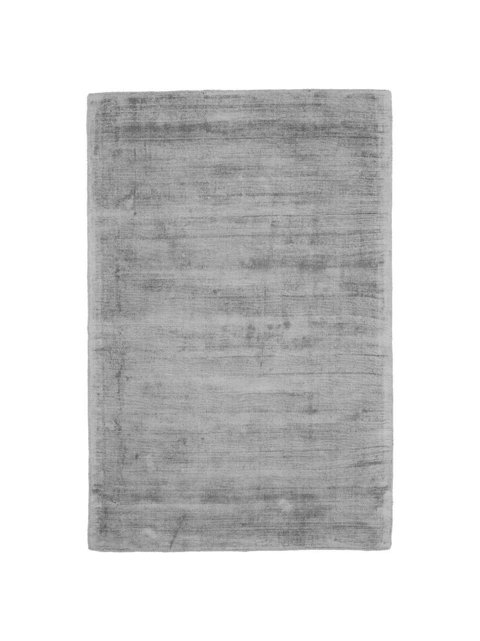 Tappeto in viscosa color grigio tessuto a mano Jane, Vello: 100% viscosa, Retro: 100% cotone, Grigio, Larg. 300 x Lung. 400 (taglia XL)