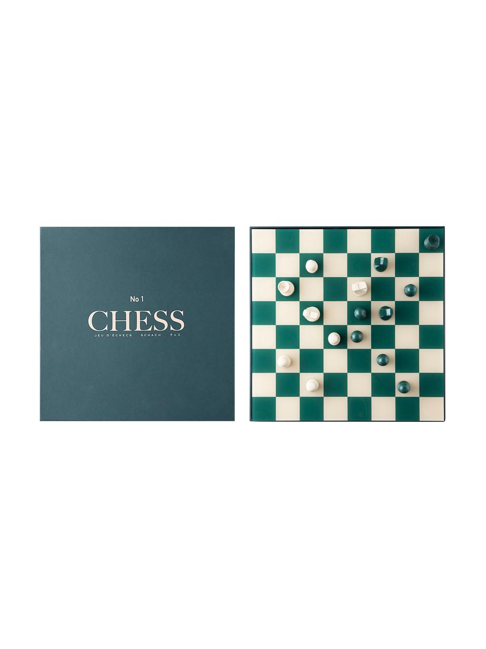 Schaakspel Classic, Papier, acryl, Beige, groen, 25 x 5 cm