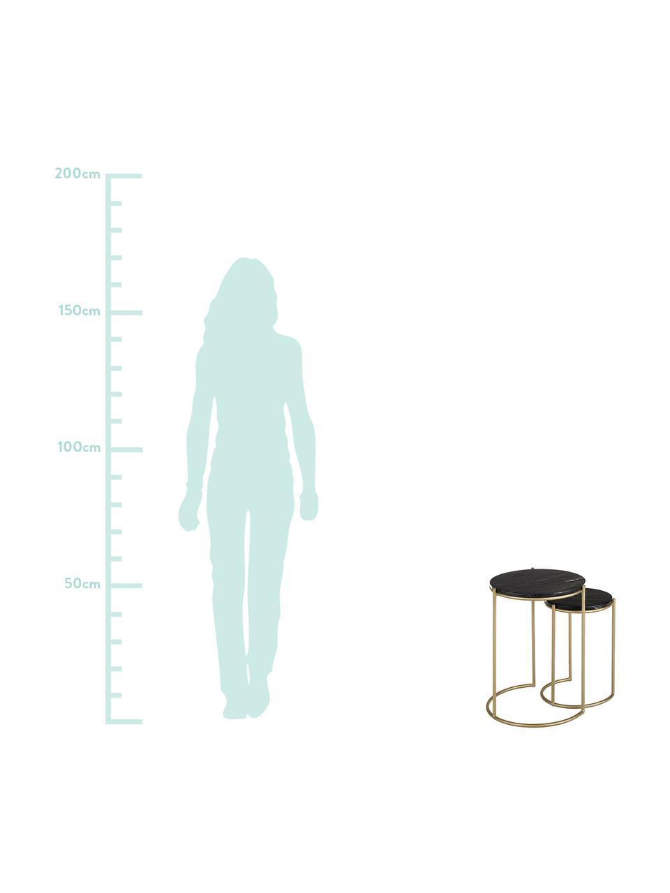 Set 2 tavolini in marmo Ella, Ripiani: marmo, Struttura: metallo verniciato a polv, Piani d'appoggio: marmo nero Struttura: dorato opaco, Set in varie misure