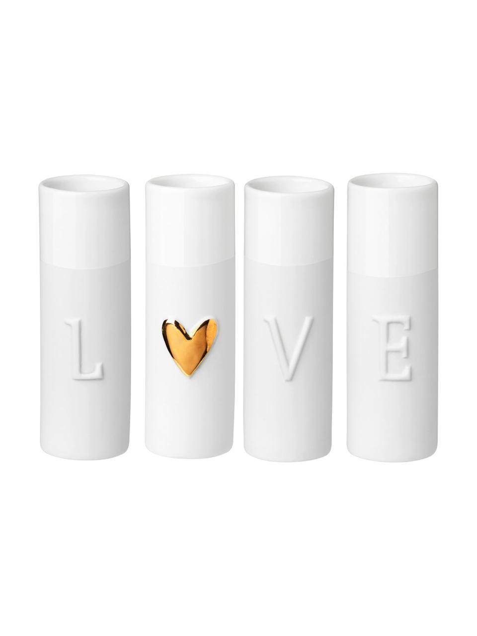 Set 4 vasi in porcellana Love, Porcellana, Vasi: rilievo bianco Cuore: dorato, Ø 3 x Alt. 9 cm