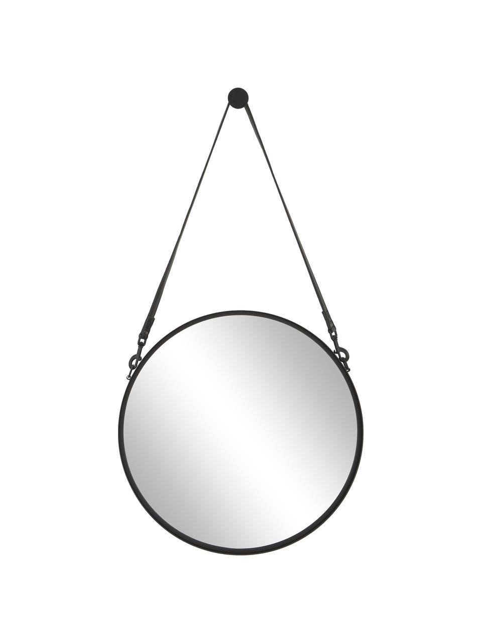 Runder Wandspiegel Liz mit schwarzer Lederschlaufe, Spiegelfläche: Spiegelglas, Rückseite: Mitteldichte Holzfaserpla, Schwarz, Ø 40 cm