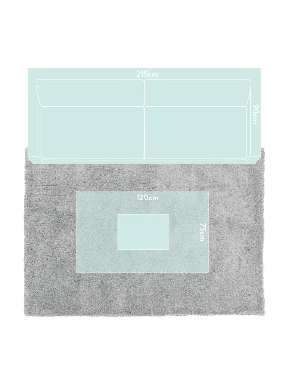 Tappeto peloso morbido grigio Leighton, Retro: 70% poliestere, 30% coton, Grigio, Larg. 80 x Lung. 150 cm (taglia XS)