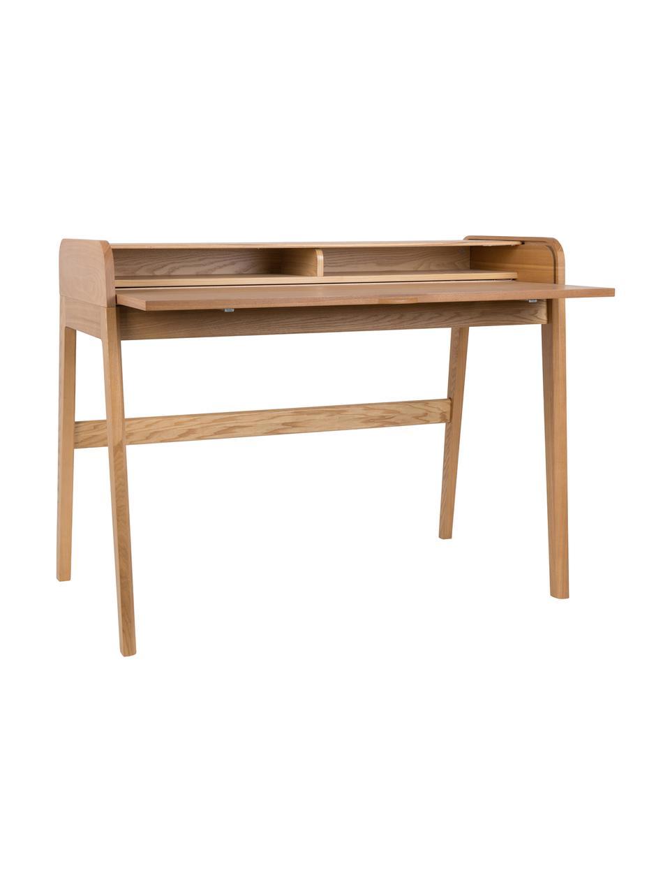 Schreibtisch Barbier, Tischplatte: Mitteldichte Holzfaserpla, Tischplatte: Braun<br>Schiebetüren und Füße: Eschenholz, 110 x 85 cm