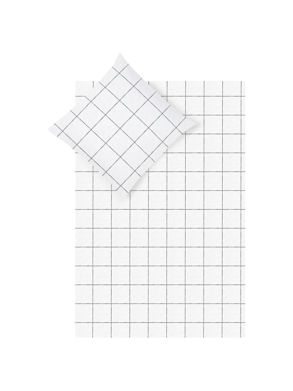 Karierte Baumwollperkal-Bettwäsche Juna in Schwarz/Weiß, Webart: Perkal Fadendichte 180 TC, Weiß, Schwarz, 135 x 200 cm + 1 Kissen 80 x 80 cm