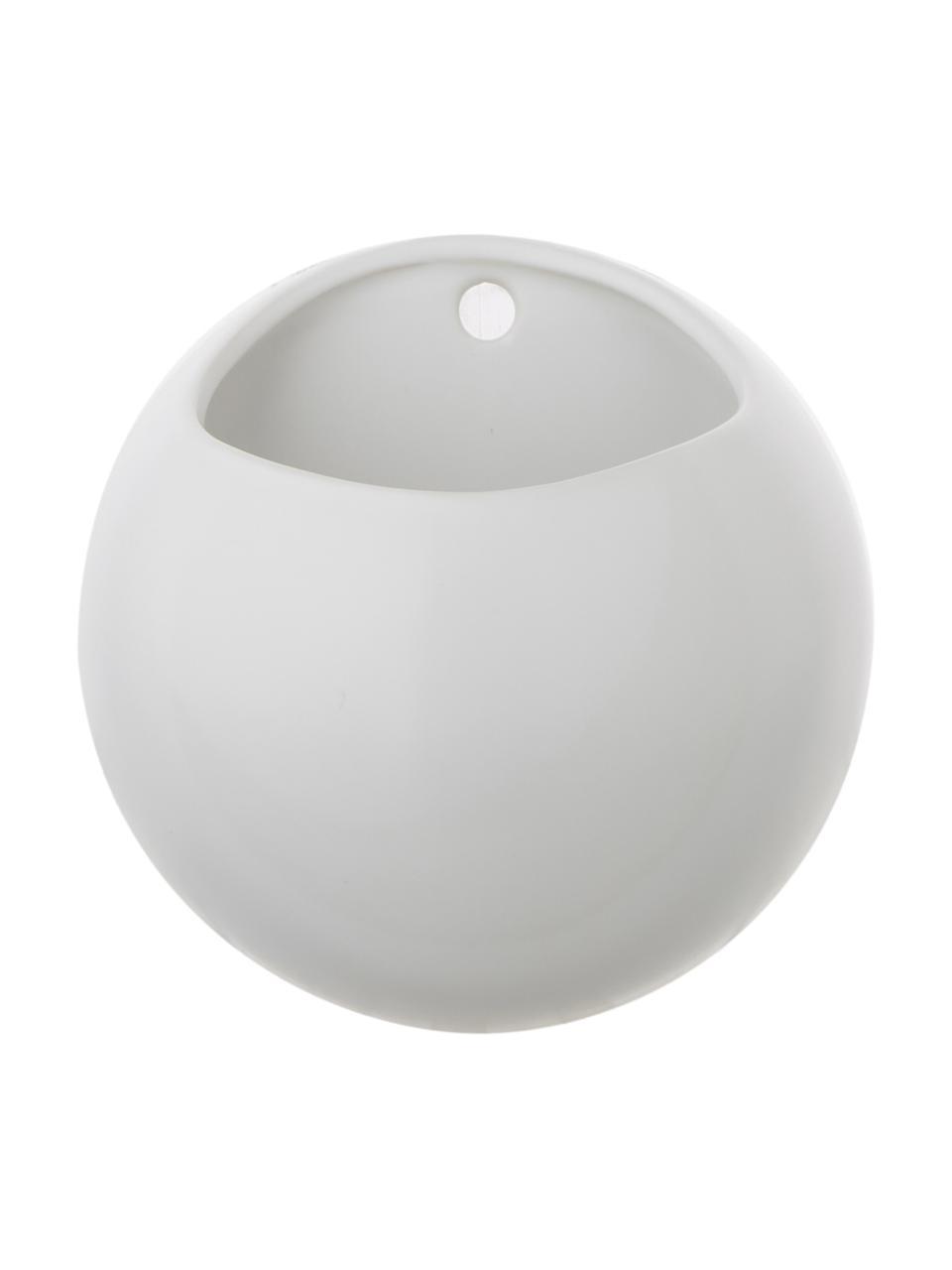 Wand-Übertopf Globe aus Keramik, Keramik, Weiß, Ø 15 x H 15 cm