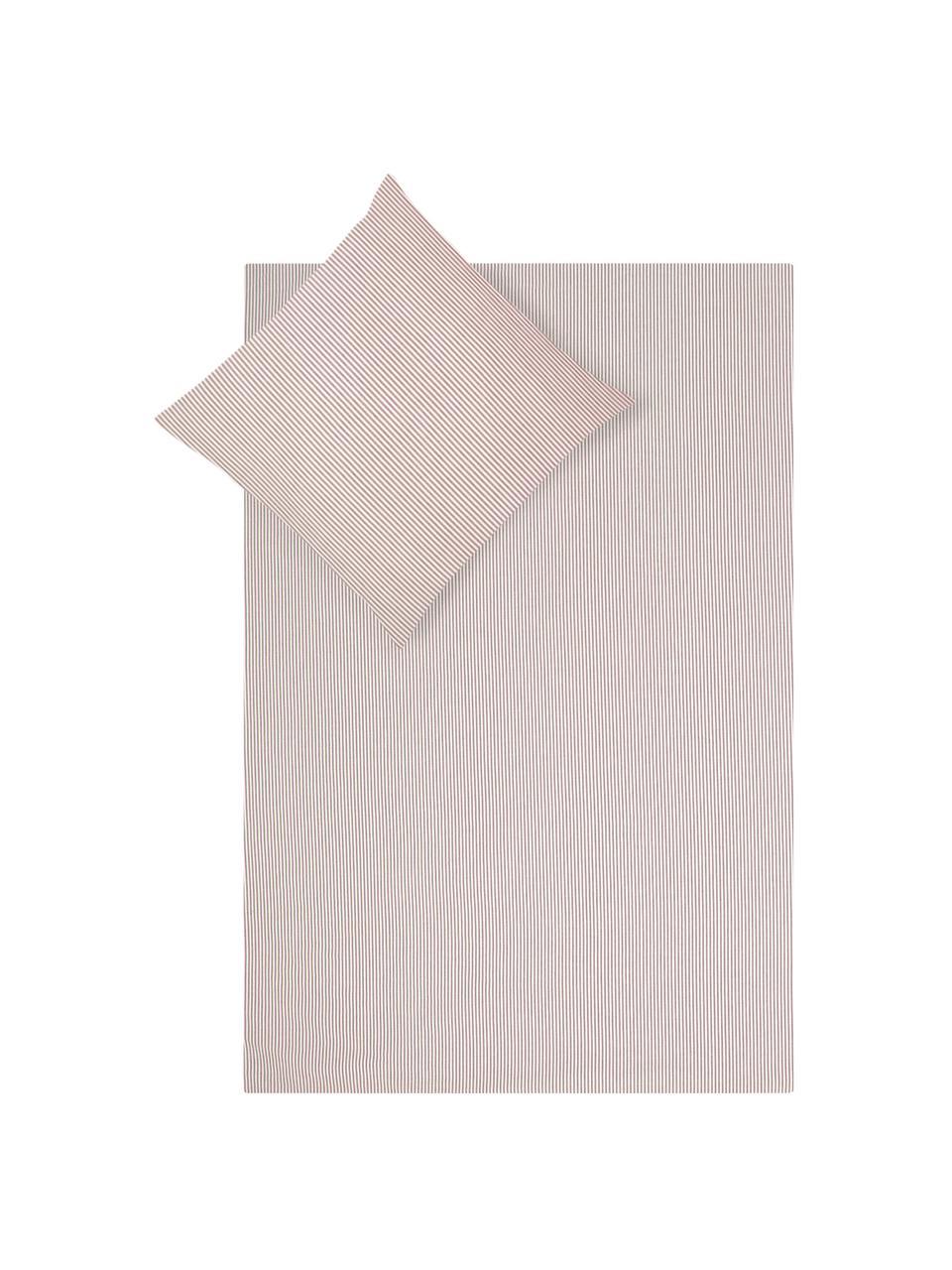 Baumwoll-Bettwäsche Ellie in Weiß/Rot, fein gestreift, Webart: Renforcé Fadendichte 118 , Weiß, Rot, 240 x 220 cm + 2 Kissen 80 x 80 cm