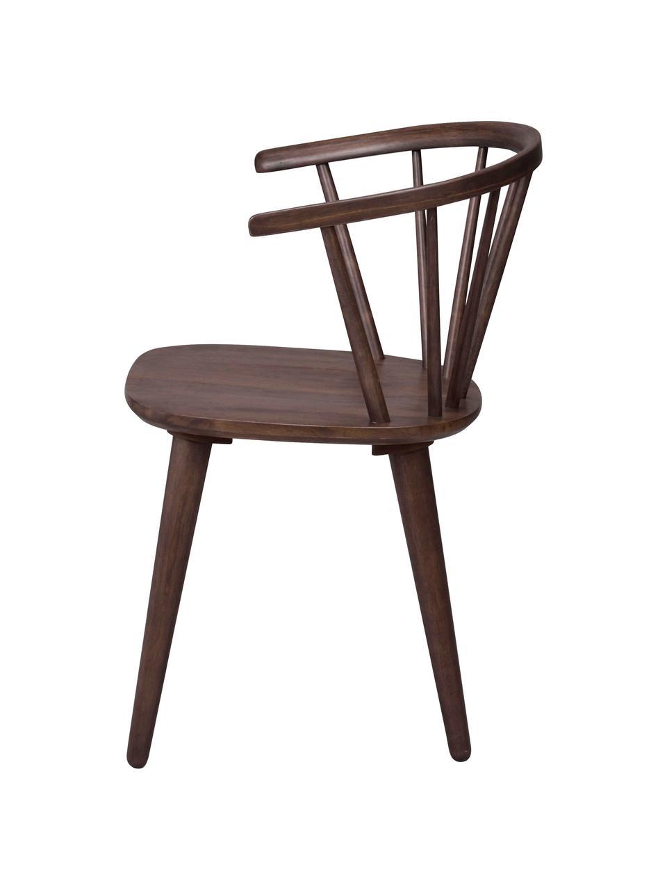 Krzesło z podłokietnikami z drewna  Windsor Carmen, 2 szt., Drewno kauczukowe, barwione, lakierowane, Ciemny brązowy, S 54 x G 52 cm